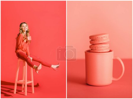 Photo for Collage with macaroons in cup and smiling girl with coffee on living coral. Pantone color of the year 2019 concept - Royalty Free Image