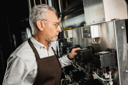 Photo for Male senior brewer in apron looking at brewery equipment - Royalty Free Image