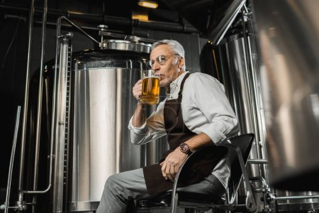 senior brewer in apron testing beer in chair in brewery
