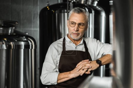 Photo for Handsome senior brewer in apron standing in brewery - Royalty Free Image