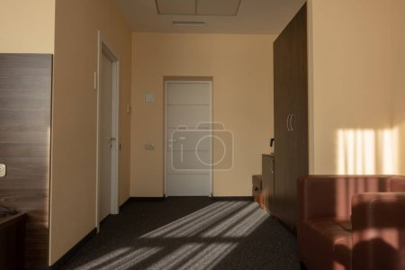 beige hotel room interior with