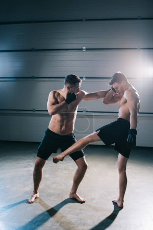 Photo for Strong shirtless mma fighters kicking and punching one another - Royalty Free Image