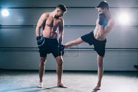 Photo for Strong muscular barefoot mma fighter practicing low kick with another sportsman - Royalty Free Image