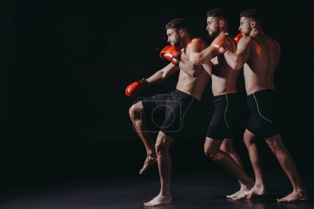 Photo for Sequence shot of shirtless athletic boxer in boxing gloves doing kick - Royalty Free Image