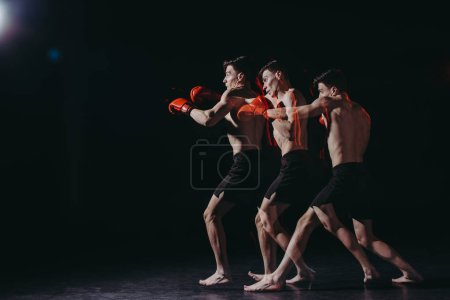Photo for Sequence shot of strong shirtless muscular boxer doing punch - Royalty Free Image