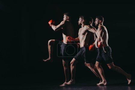 Photo pour Exposition multiple de combattant mma musculaire forte dans les gants de boxe faisant coup saut en - image libre de droit