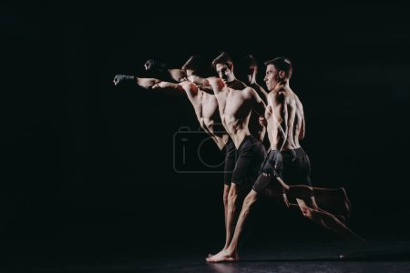 Photo for Multiple exposure of strong barefoot muscular mma fighter doing punch - Royalty Free Image
