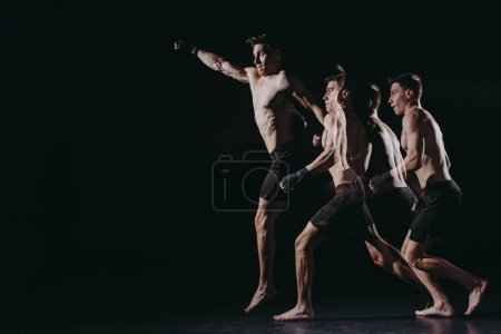 Photo for Multiple exposure of strong barefoot muscular mma fighter doing punch in jump - Royalty Free Image