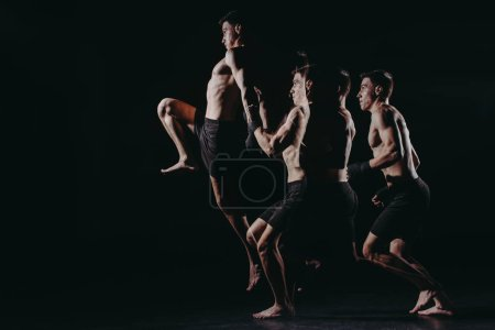 Photo for Multiple exposure of strong barefoot muscular mma fighter jumping high - Royalty Free Image