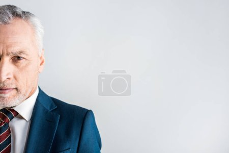 Photo for Cropped view of mature businessman looking at camera isolated on grey - Royalty Free Image