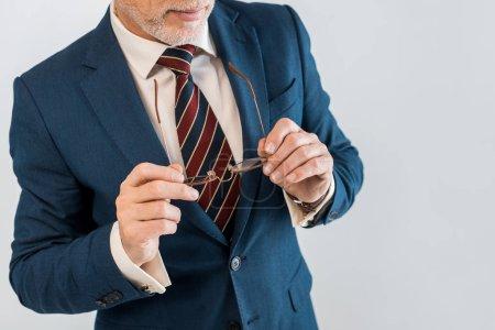 Photo pour Vue recadrée d'homme d'affaires mature en costume portant des lunettes isolées sur gris - image libre de droit