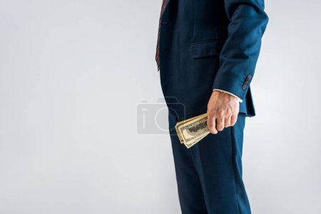 Photo for Cropped view of mature businessman standing in formal wear and holding dollar banknotes isolated on grey - Royalty Free Image