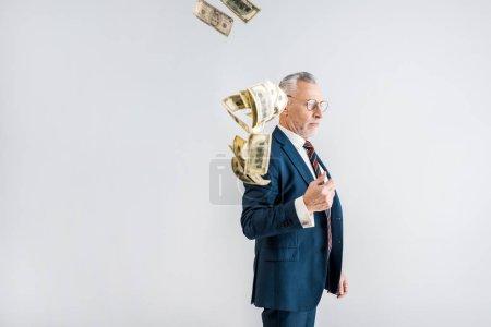 Photo for Handsome mature businessman in glasses and formal wear throwing in air dollar banknotes isolated on grey - Royalty Free Image