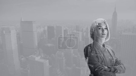 Photo pour Double exposure of attractive woman with crossed arms and new york cityscape - image libre de droit