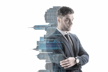 Photo pour Double exposure of confident businessman and new york city buildings vertical silhouette isolated on white - image libre de droit