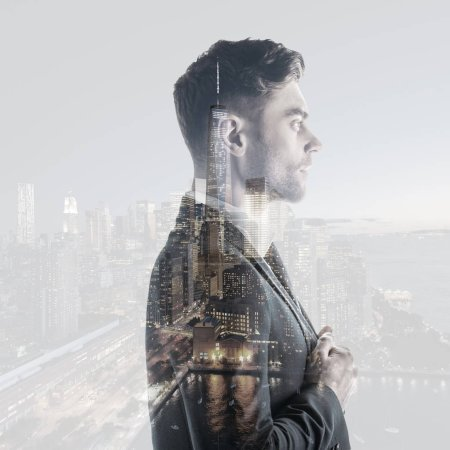 Photo for Double exposure of handsome, serious man and new york cityscape - Royalty Free Image