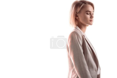 Photo for Beautiful, pensive businesswoman with closed eyes isolated on white - Royalty Free Image