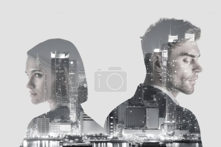 Photo pour Double exposure of handsome man and pretty woman and new york evening cityscape - image libre de droit