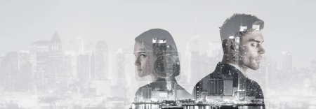 double exposure of attractive woman and handsome man and new york evening cityscape