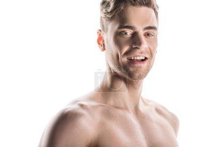 Photo pour Bel homme torse nu, joyeux et souriant isolé sur blanc - image libre de droit