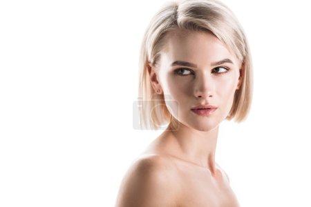 Foto de Attractive, blonde confident woman looking away isolated on white - Imagen libre de derechos