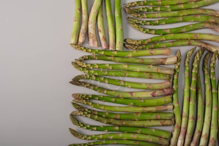 top view of green raw asparagus in rows on grey background