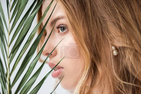 Photo for Dreamy and attractive girl near green palm leaf on white - Royalty Free Image