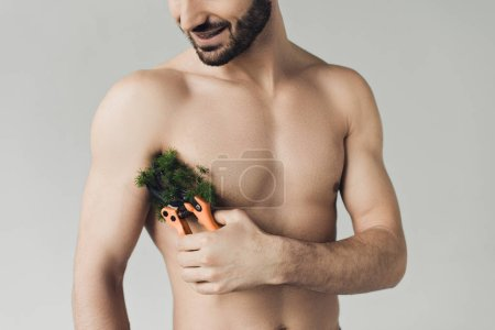 Photo for Cropped view of smiling bearded shirtless man cutting plant on armpit with secateurs isolated on grey - Royalty Free Image
