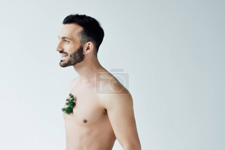 Photo for Smiling bearded man with green plant on chest looking away isolated on grey - Royalty Free Image