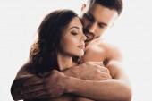 """Постер, картина, фотообои """"bearded handsome man embracing girlfriend isolated on white"""""""