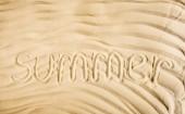 "Постер, картина, фотообои ""top view of word summer written on wavy sand """
