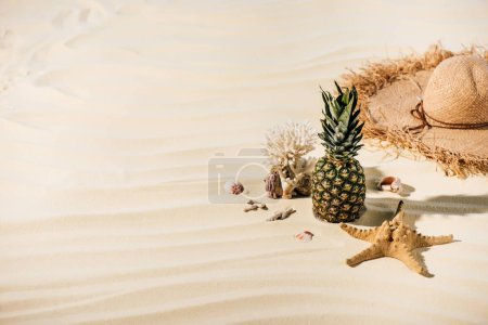 Photo for Pineapple, Straw Hat, starfish, coral and sea stones on beach with copy space - Royalty Free Image