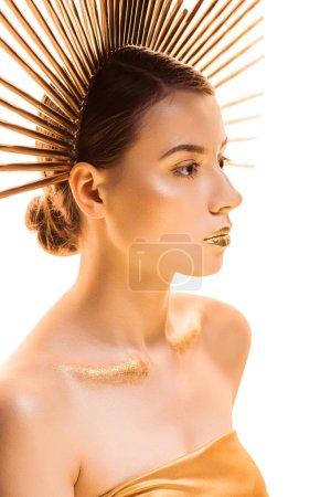 Photo for Young beautiful woman with golden glittery makeup and accessory on head looking away isolated on white - Royalty Free Image