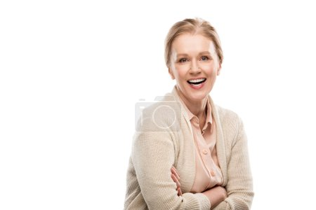 Photo for Smiling middle aged woman with crossed arms Isolated On White with copy space - Royalty Free Image