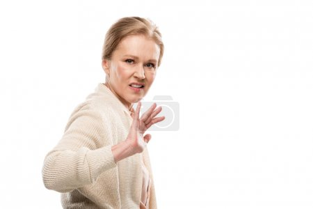 przestraszony Kobieta w średnim wieku gesturing z rąk izolowane na białym z kopią miejsca