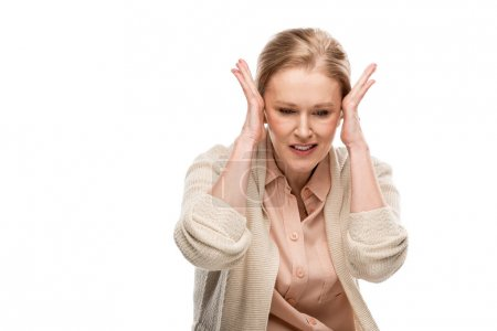 Photo for Middle aged woman touching head while having headache Isolated On White - Royalty Free Image