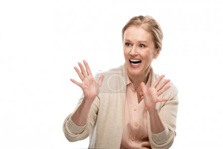 Photo for Excited middle aged woman Gesturing with open palms Isolated On White - Royalty Free Image