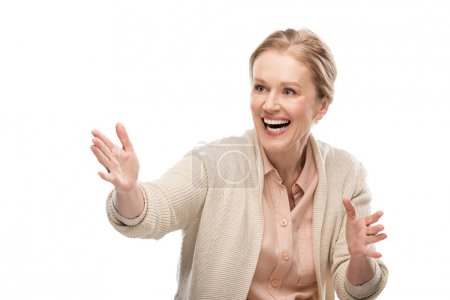 Photo for Excited middle aged woman Gesturing with hands Isolated On White - Royalty Free Image