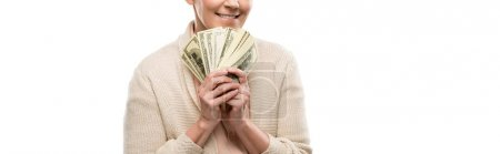 Photo for Panoramic shot of smiling middle aged woman with dollar banknotes Isolated On White - Royalty Free Image