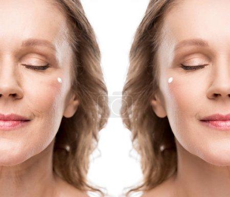 Photo pour Collage de femme mûre avec la crème cosmétique sur le visage avant et après retouche isolée sur le blanc - image libre de droit
