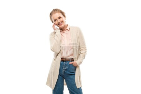 Photo for Smiling middle aged woman talking on smartphone Isolated On White - Royalty Free Image