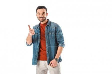 Photo pour Good-looking bearded man showing thumb up and looking at camera isolated on white - image libre de droit
