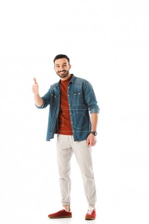 Photo for Cheerful bearded man looking at camera and showing thumb up isolated on white - Royalty Free Image