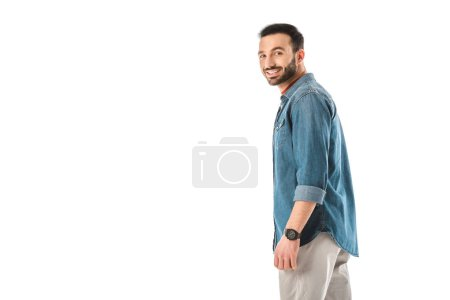 Photo for Smiling handsome man in denim shirt looking at camera isolated on white - Royalty Free Image