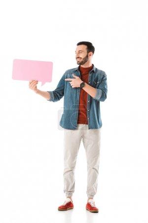 Photo pour Homme beau heureux pointant avec le doigt à la bulle de pensée d'isolement sur le blanc - image libre de droit