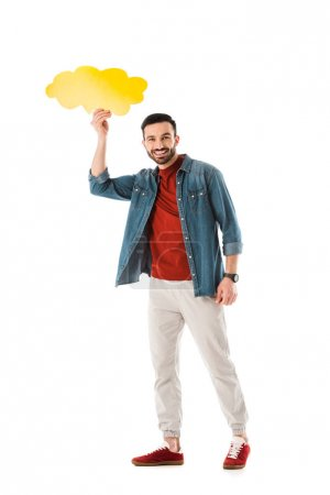 Photo for Cheerful bearded man holding thought bubble over head and looking at camera isolated on white - Royalty Free Image