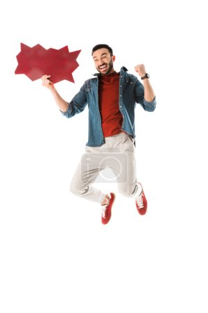 Photo for Happy handsome man with thought bubble jumping and showing yes gesture isolated on white - Royalty Free Image