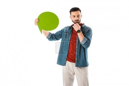 Photo pour Homme pensif avec la main de fixation de bulle de pensée près du visage d'isolement sur le blanc - image libre de droit
