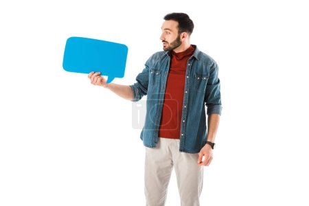 Photo for Surprised man in denim shirt looking at thought bubble isolated on white - Royalty Free Image