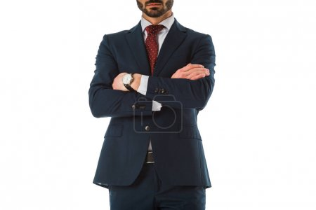 Photo for Cropped view of businessman in black suit standing with crossed arms isolated on white - Royalty Free Image